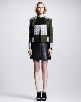Proenza Schouler Snakeskin Patchwork Jacket, Geometric Silk/Cashmere Sweater & Perforated Leather Skirt