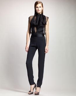 Lanvin Sheer Tie-Neck Blouse, One-Piece Bodysuit & High-Waist Slim Tuxedo Pants