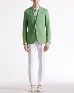 Gucci Washed Canvas Dandy Jacket, Diamante Shirt, Striped Tie & Textured Pants