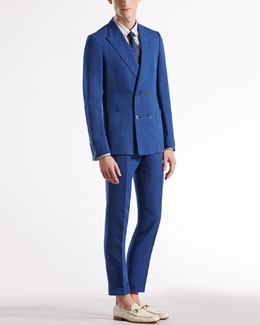 Gucci Gabardine Dandy Jacket, Jacquard-Stripe Skinny Formal Shirt, Polka Dot Tie & Gabardine Skinny Formal Pants