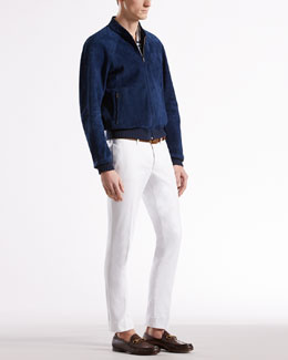 Gucci Unlined Suede Bomber Jacket & Textured Pants