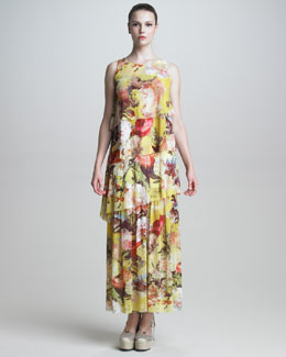 Jean Paul Gaultier Tiered Floral-Print Maxi Dress