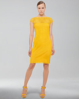 Akris V-Back Cobblestone Knit Dress