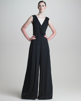 Armani Collezioni Wide-Leg Stretch-Silk Jumpsuit