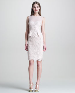 Emilio Pucci Sleeveless Lace Peplum-Front Dress