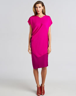 Narciso Rodriguez Colorblock Draped Shift Dress