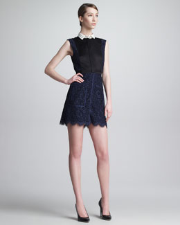 Jason Wu Lace Combo Illusion Shirtdress, Navy/Black