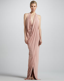 Donna Karan Draped Jersey Evening Gown, Nectar