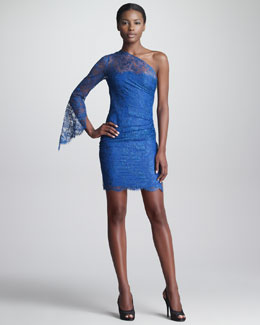 Emilio Pucci One-Shoulder Lace Sheath Dress, Blue