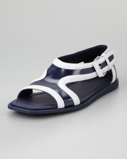 Prada Runway Leather Contrast Sandal