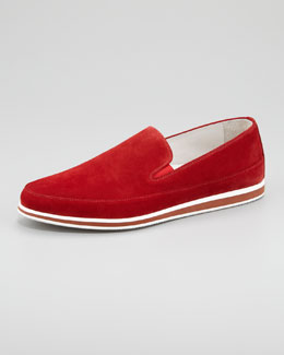 Prada Suede Slip-On, Red