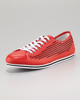 Prada Perforated Low Sneaker, Red