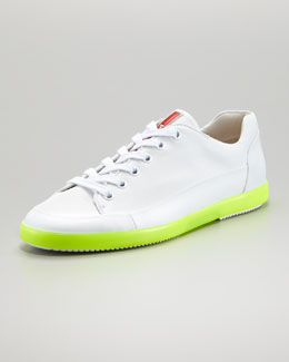 Prada Low-Top Neon-Sole Sneaker