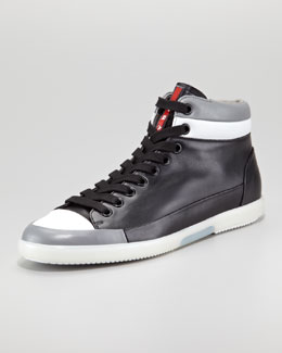 Prada Hi-Top Contrast-Lip Sneaker, Black