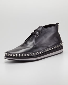 Prada Studded Rim Chukka Boot, Black