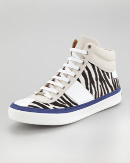 Jimmy Choo Belgravia Zebra Calf Hair Hi-Top Sneaker