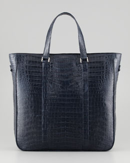 Santiago Gonzalez Men's Large Crocodile Tote Bag, Navy