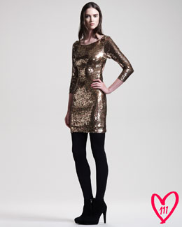 Alice + Olivia BG 111th Anniversary Sequined Long-Sleeve Dress