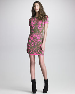 McQ Alexander McQueen Printed Knit Short-Sleeve Sheath Dress