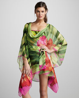 Gottex Maldives Printed Chiffon Coverup Dress