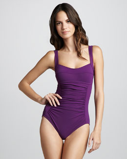 Karla Colletto Basic Square-Neck One-Piece Swimsuit, Plum
