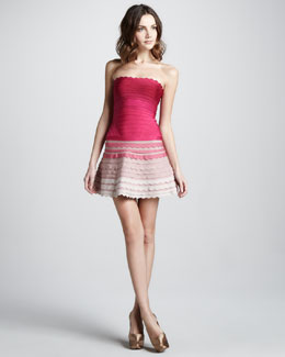 Herve Leger Ombre Scalloped Strapless Bandage Dress