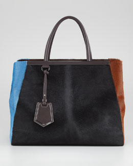 Fendi 2Jours Calf Hair Tote Bag, Black/Sugar Paper