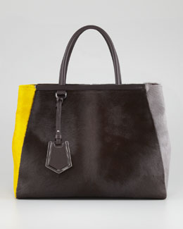 Fendi 2Jours Calf Hair Tote Bag, Brown/Yellow/Iron