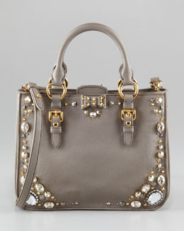 Miu Miu Madras Jewel East-West Satchel Bag