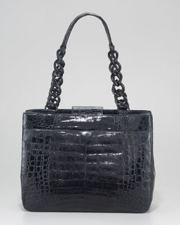 Nancy Gonzalez Small Crocodile Chain-Strap Tote Bag, Shiny Navy