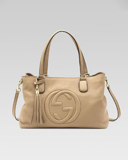 Gucci Soho Leather Working Tote Bag, Cream