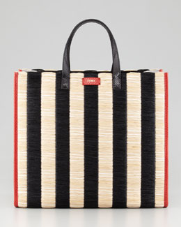 Fendi Pequin Striped Raffia & Snake Tote Bag