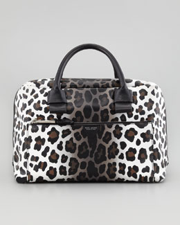 Marc Jacobs Antonia Small Leopard-Print Satchel Bag, Natural