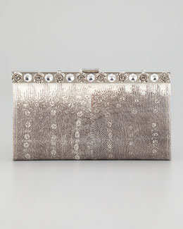 Prada Lucertola Lizard and Crystal Clutch Bag, Gray