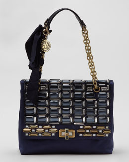 Lanvin Happy Medium Beaded Flap Shoulder Bag