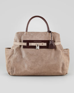 Brunello Cucinelli Padlock Satchel Bag, Dark Taupe