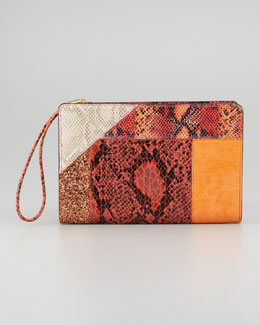 Stella McCartney Patchwork Wristlet Clutch Bag, Orange