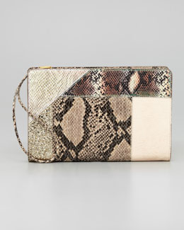 Stella McCartney Patchwork Wristlet Clutch Bag, Cream