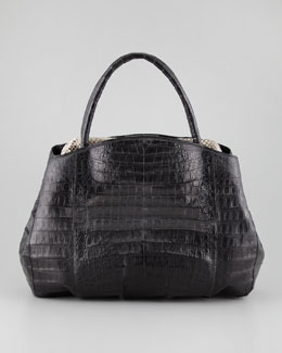 Nancy Gonzalez Crocodile Python-Frame Tote Bag, Black/Multi