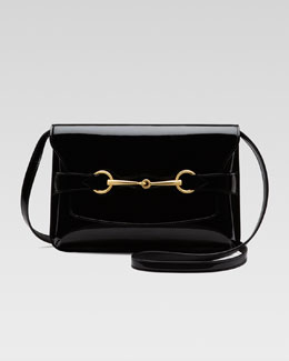 Gucci Bright Bit Patent Leather Shoulder Bag, Black