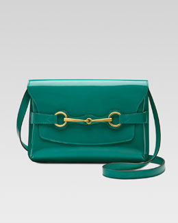 Gucci Bright Bit Patent Leather Shoulder Bag, Teal