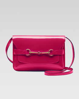Gucci Bright Bit Patent Leather Shoulder Bag, Pink