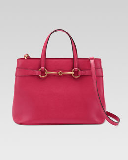 Gucci Bright Bit Medium Leather Tote Bag, Pink