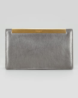 Saint Laurent Lutetia Metallic Leather Clutch Bag, Gunmetal