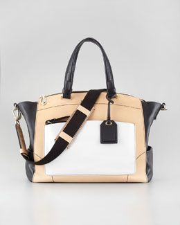 Reed Krakoff Uniform Satchel, Nude/Black/White