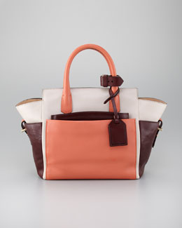 Reed Krakoff Atlantique Mini Tote Bag, Coral/Cream/Brown