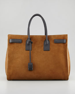Saint Laurent Sac du Jour Suede Tote, Light Brown