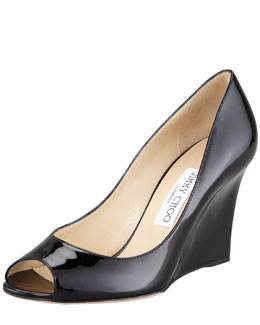 Jimmy Choo Baxen Patent Peep-Toe Wedge