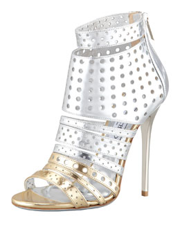 Jimmy Choo Malika Perforated Metallic Leather Sandal