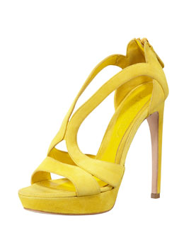 Alexander McQueen High-Heel Double-Arched Suede Sandal, Yellow